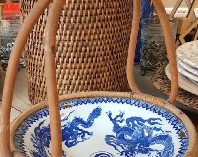 Ancient Japanese art deco porcelain basket dish