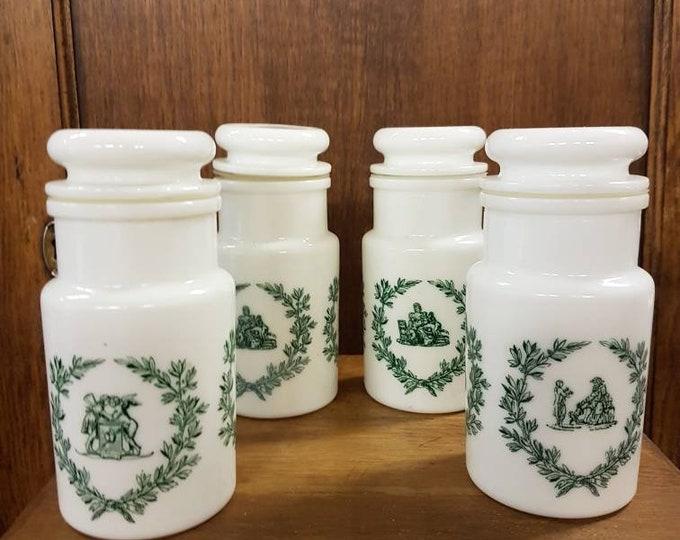Set 4 arcopal spice jars, vintage opaline, Italy.