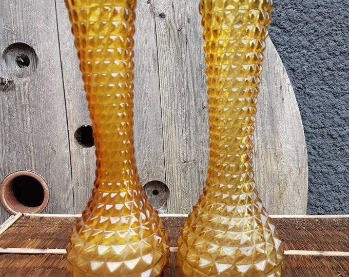 Duo amber vases vintage Italian glassware