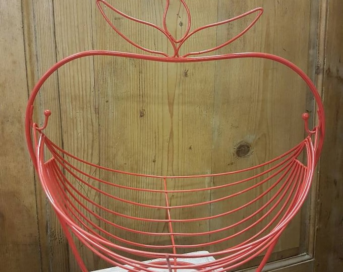 Red metal fruit basket