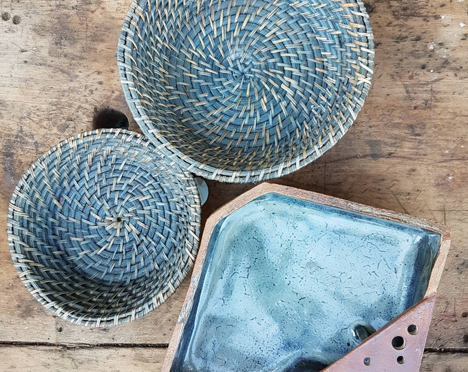 Set rattan pottery cups