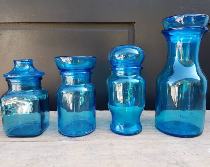 Vintage glassware blue jars series
