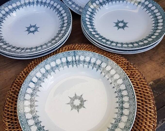 Set 8 hollow plates Saint Amand and Hamage
