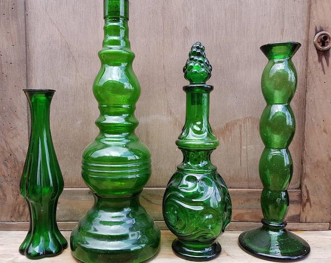 Set vases, green vintage soliflore