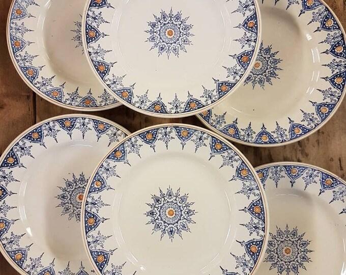 Service 6 vintage plates St Amand