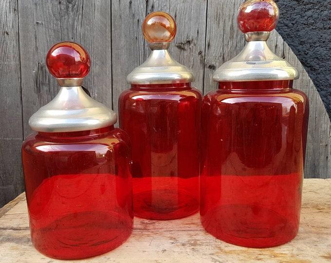 Trio red jars
