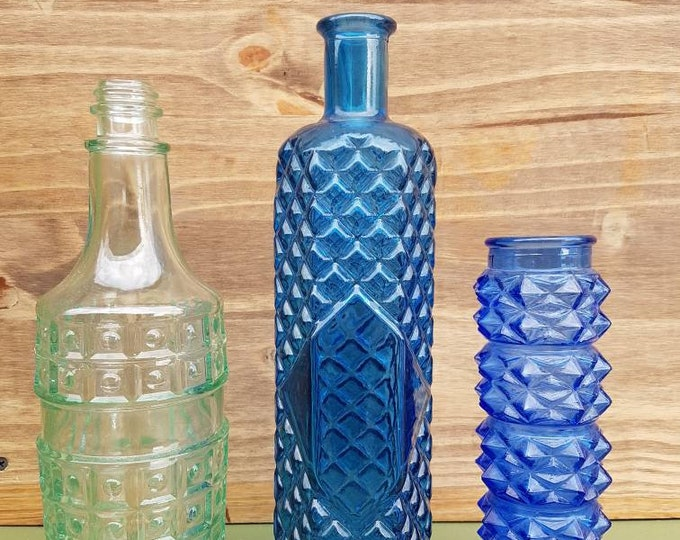 Trio blue vases