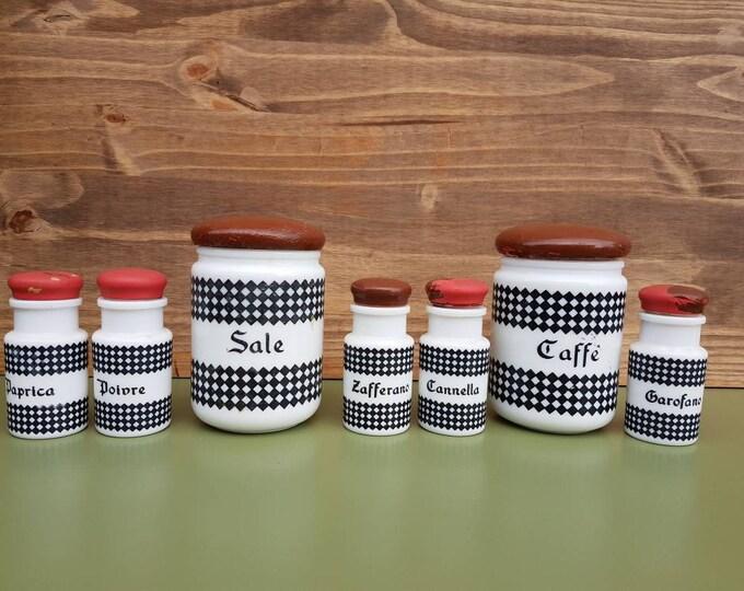 Set vintage vichy spice pots