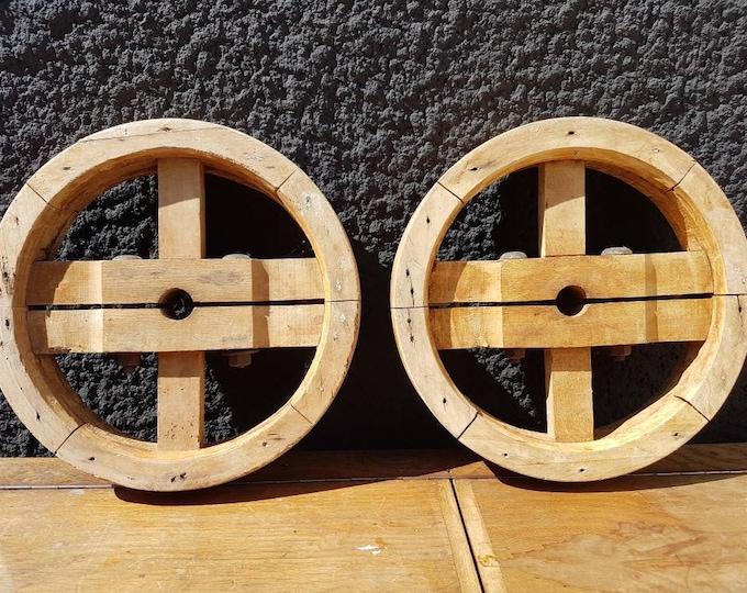 Old vintage pulley wheel, industrial.