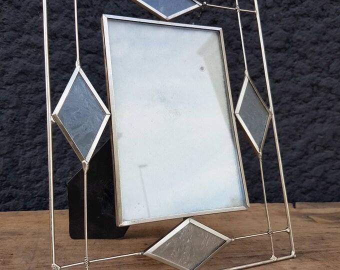 Vintage metal and glass photo frame