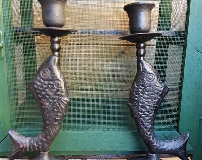 Pair metal candlesticks