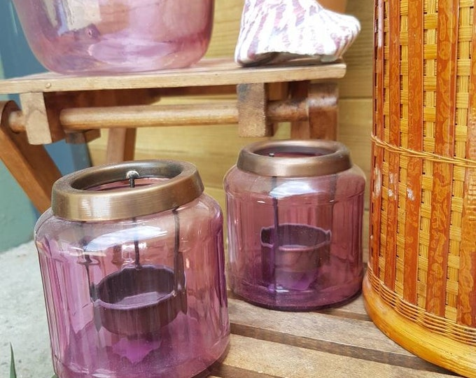Pair pink candle holder
