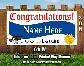 congrats grad personalized banner graduation banner etsy