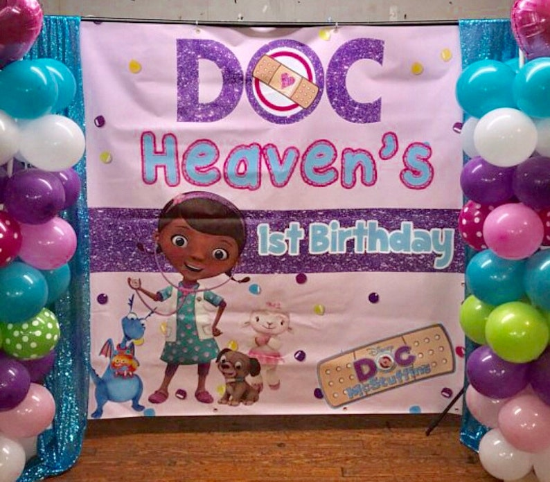 Custom Birthday Backdrop Doc McStuffins Backdrop Banner for Birthday Party
