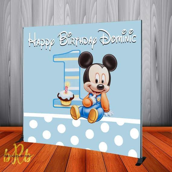 Baby Mickey Mouse 1st Birthday.Baby Mickey Mouse 1st Birthday Backdrop Banner Personalized Birthday Banner For Mickey Mouse First Birthday Party