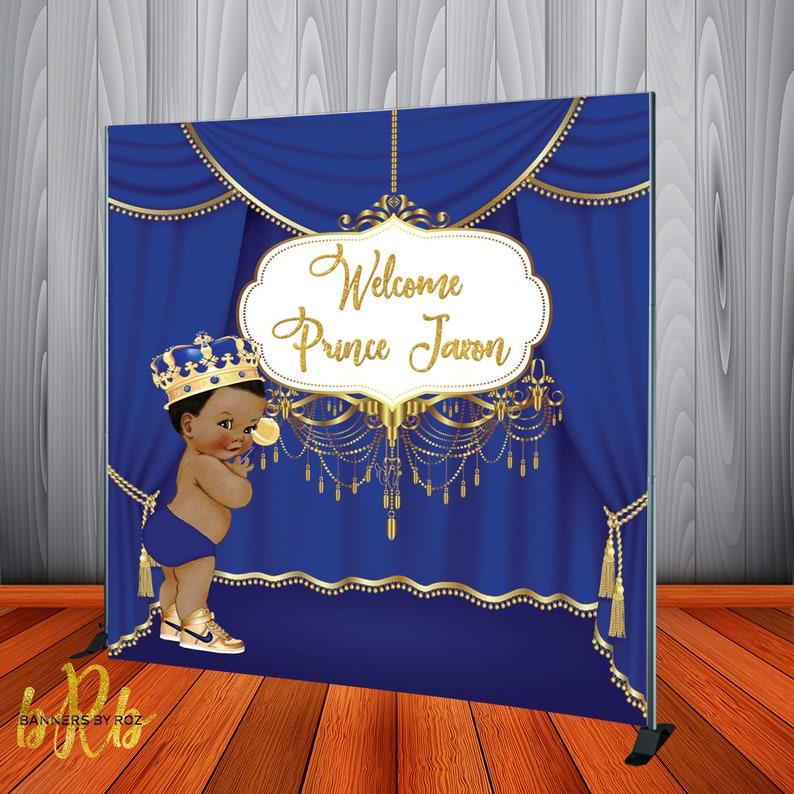 Background Vinyl Photography Background Birthday Party Boy Prince Royal Baby Shower Denim Diamond Dessert Table Backdrop Photo Studio