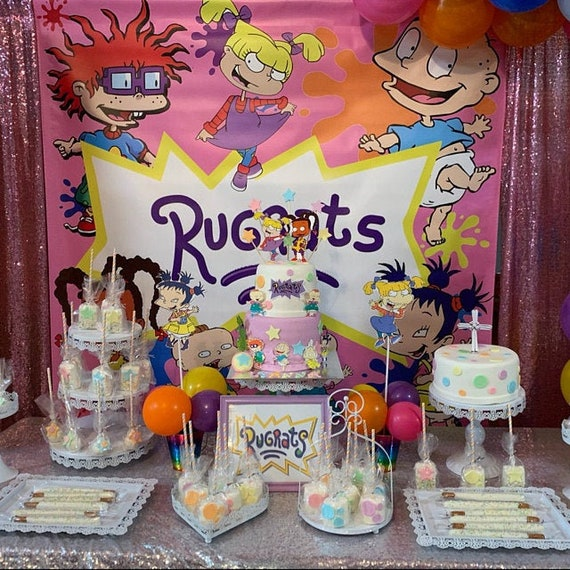 Prime Rugrats Birthday Party Pink Backdrop Banner Personalized Etsy Funny Birthday Cards Online Necthendildamsfinfo