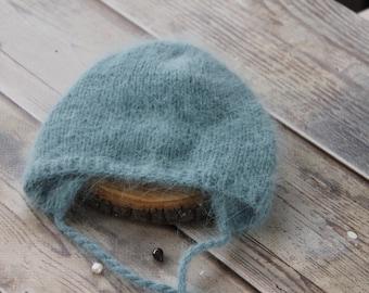Angora nouveau-né Bonnet, Bonnet moelleux, Angora bébé chapeau, nouveau-né  Photo Prop, Turquoise Bonnet nouveau-né fb950eaa7af