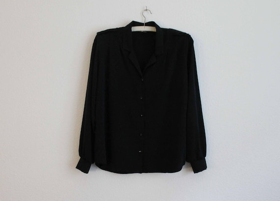 Black Retro Polyester Shirt with Shoulder pads
