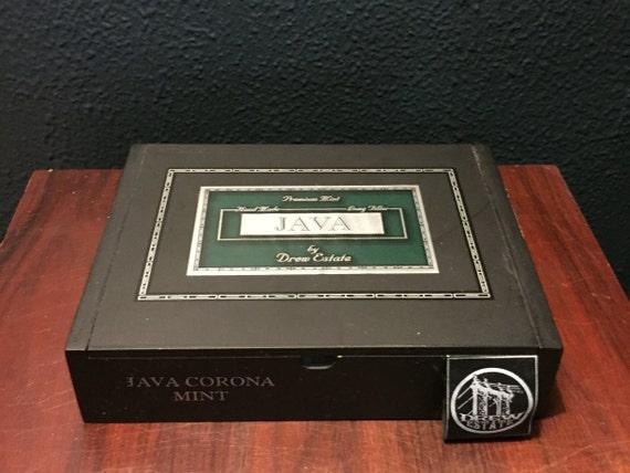Drew Estate Natural English Black Tri-Fold Top Empty Wood Cigar Box