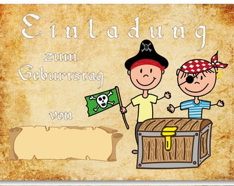 12 Invitation cards Pirate for children birthday/invitation motto Pirate Party and Treasure Hunt/format Din A6