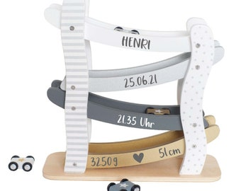 Racetrack made of wood with name and data personalized skandi silver line / ideal as a gift for the birth baptism or birthday