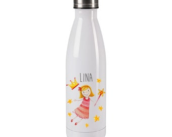 Drinking bottle motif fairy for children  personalized with name  insulating bottle for school and sports  thermos bottle 500 ml filling quantity