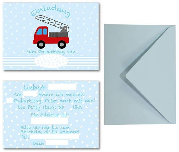 fire station 8 x party invitation cards with envelopes