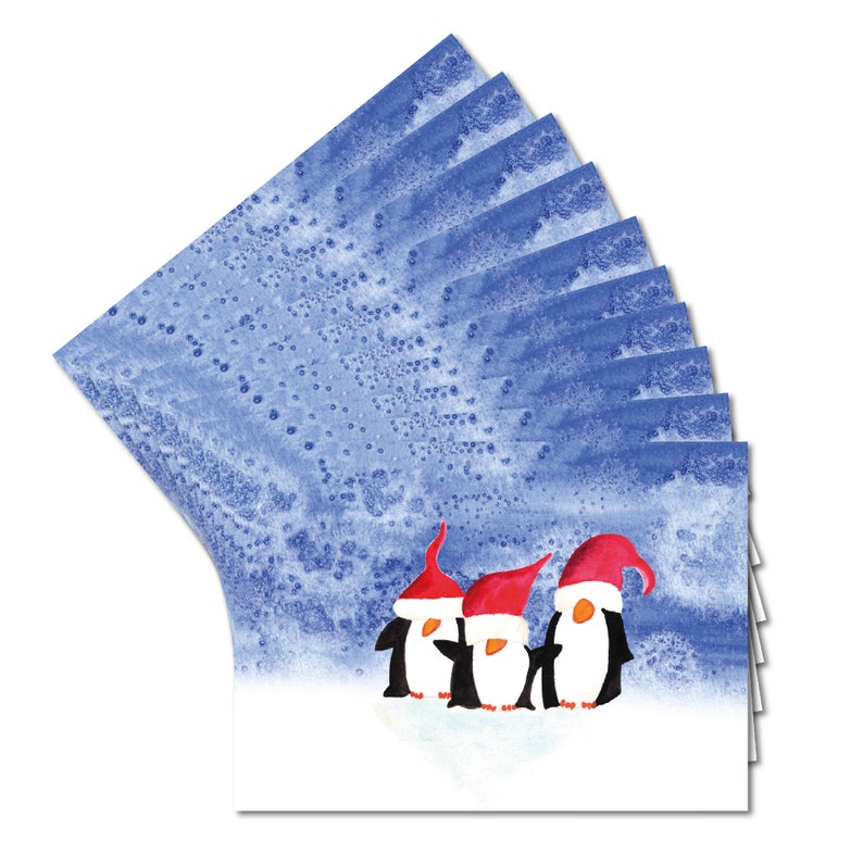 10 Christmas cards in set  funny penguin motif  back unprinted  format DIN A6