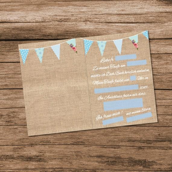8 Einladungskarten Zur Taufe Für Jungen Im Vintage Stil Hellblau Pastell Einladung