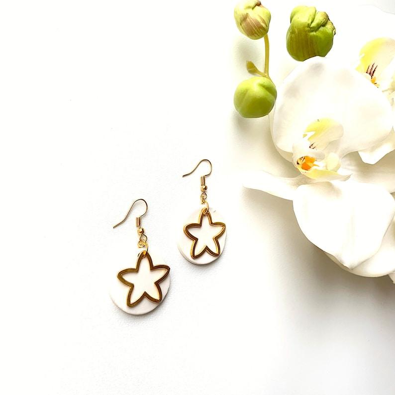 Geometric Clay Black Dangle Earrings Valentines Day Gift Golden Dangle Minimalist Ceramic Stud Earrings Golden Star Black Stud Earrings