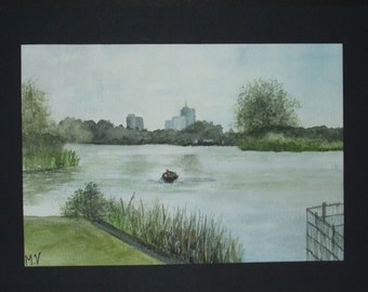 Aquarel/Watercolours painting. Landscape in the Netherlands, Almere, Leeghwaterplas. On paper