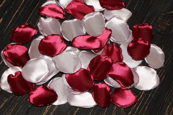 Marsala Rose Petalssilver Petalsburgundy Wedding Decoraisle Etsy