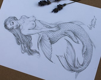 Mermaid Drawing Etsy