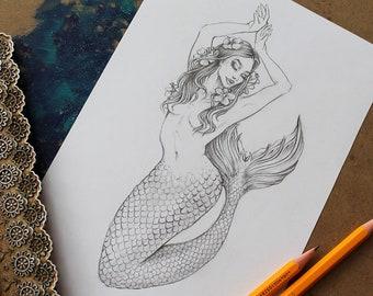 Mermaid Drawing Etsy
