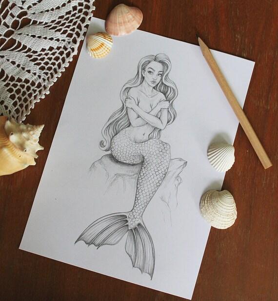 Original Meerjungfrau Bleistift Zeichnung Nackte Fantasy Frau Etsy