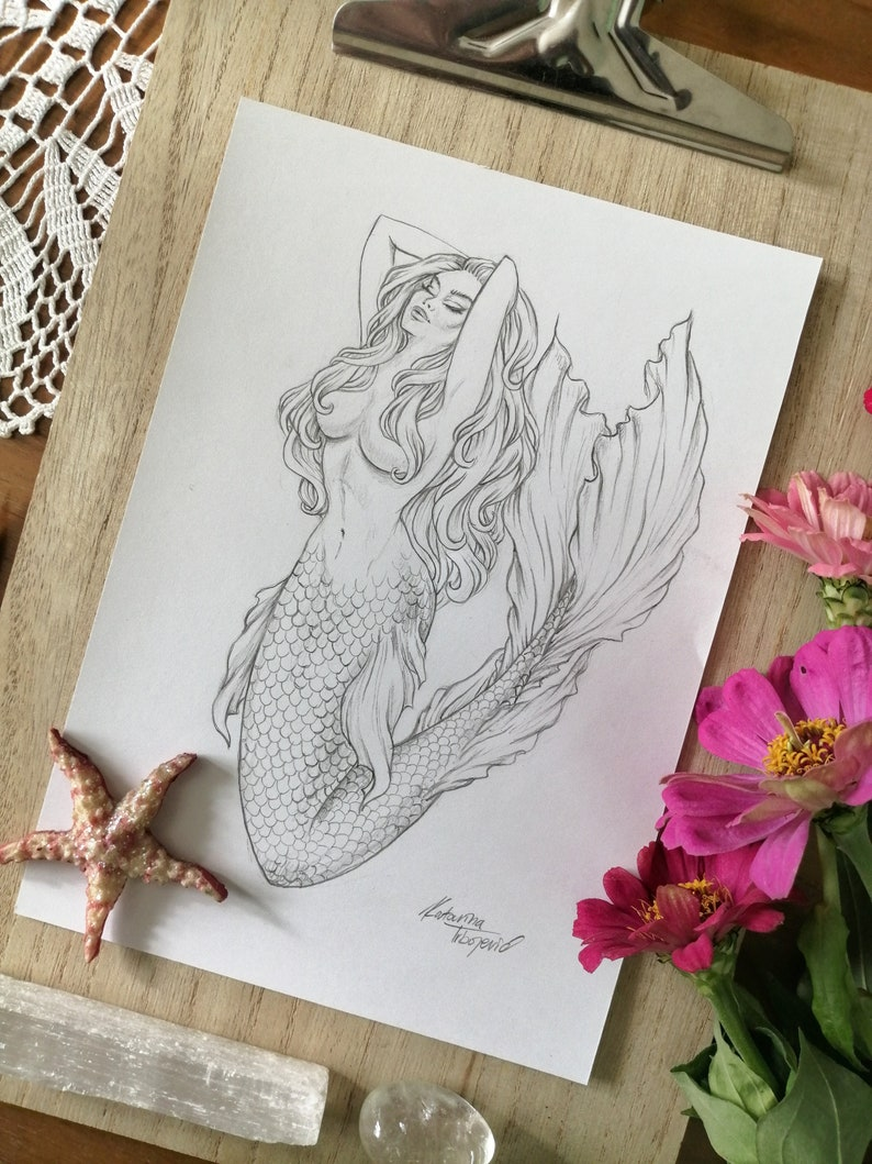 Signed Original Bronze Sculpture Nude Mermaid Sea Creature Abstract Surreal Art
