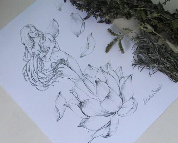 Nude Woman Art Original Pencil Drawing Female Nudity Art Etsy