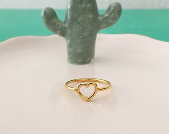 Heart ring in silver or gold plated