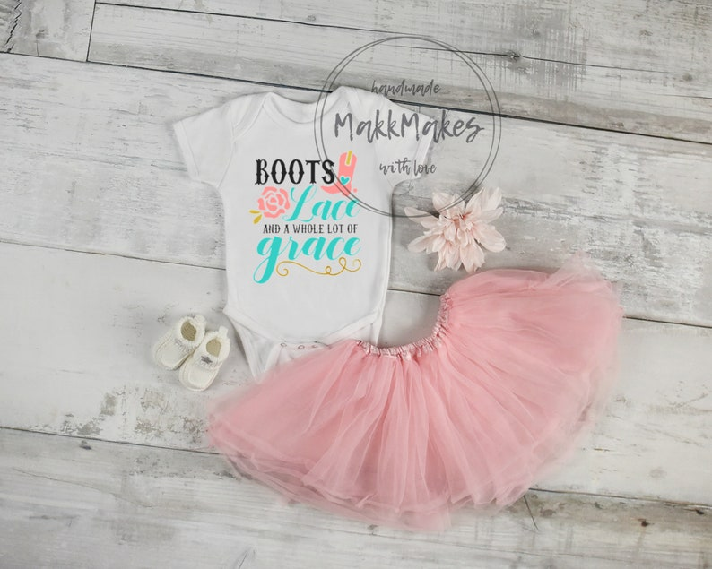 2e805dd59b6b6 Boots, Lace and Grace Baby Girl Bodysuit