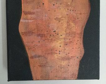 Original Acrylic on Canvas Painting 6x6 Carrot