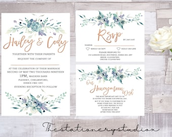 carrie rose gold and dusky blue roses wedding invitation template