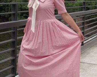 0974d5337703be True Vintage Laura Ashley Matrosen Kleid rosa Tupfen