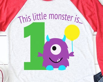 This Little Monster is 1 Svg, Birthday Party Svg, Birthday Svg, 1st Birthday Svg, Party Svg, silhouette cut file