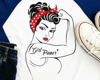 Girl Power SVG - eps - ai - dxf - Cut file - Silhouette - Cricut - Scan N Cut - Rosie SVG - Pin Up SVG - Rosie the Riveter