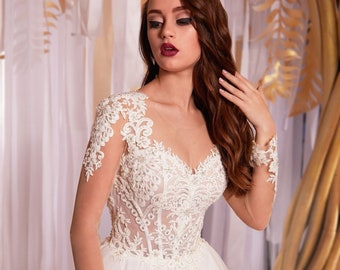 3259010da2 Long sleeve wedding dress white Boho wedding dress a line Lace wedding dress  with handmade Wedding dresses alternative any sizes . PLUS SIZE