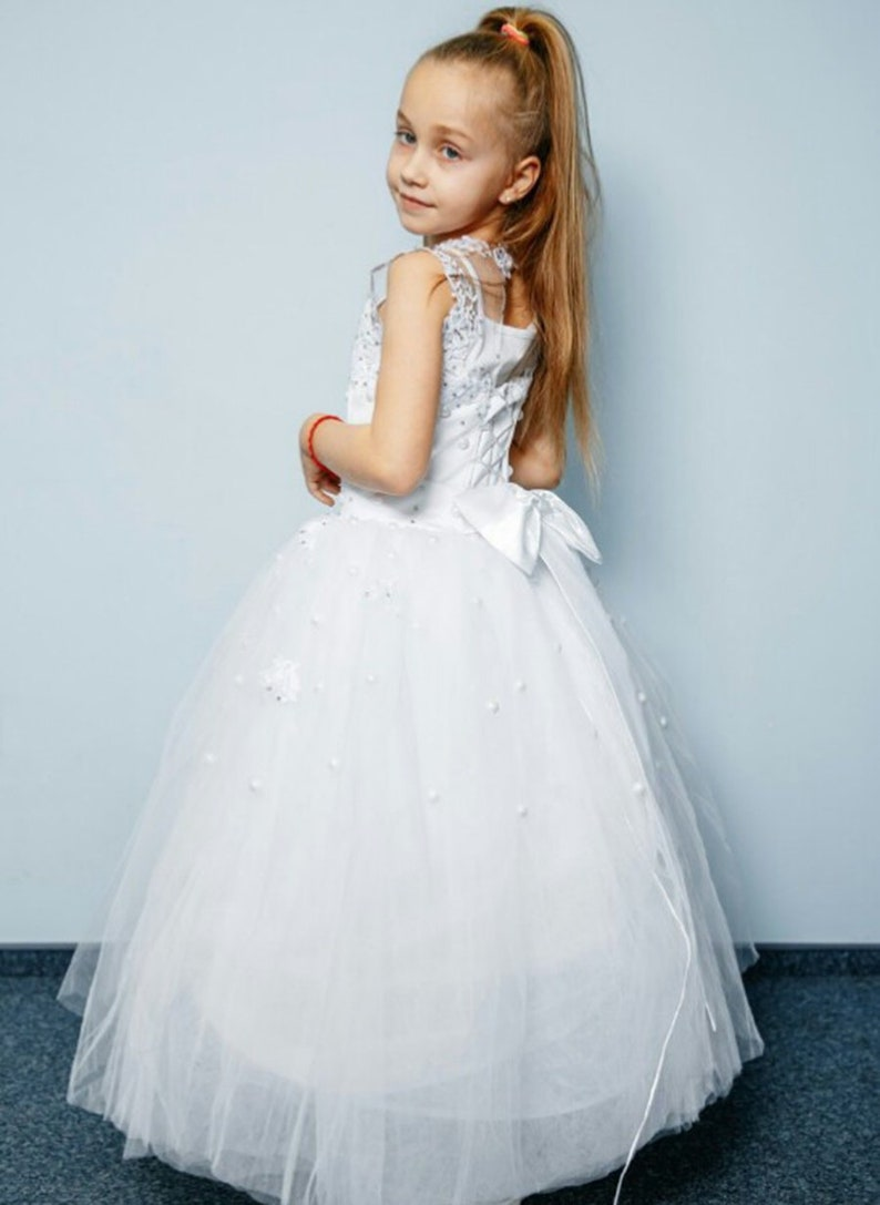 ef8eec7d08c White flower girl dress with bow Holiday Birthday Wedding