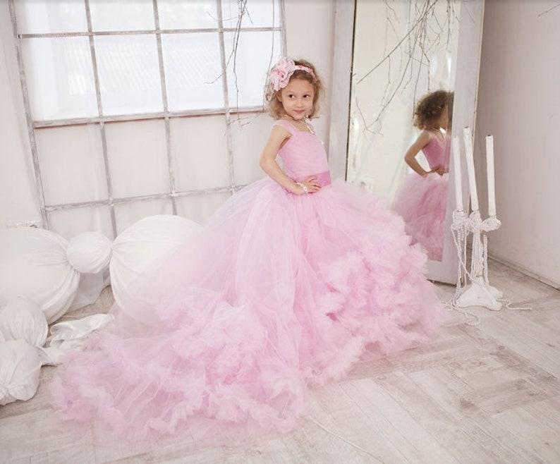 506e98d38e19a9 Rosa Blumen-Mädchen-Kleid Wolke für kleine Prinzessin   Etsy