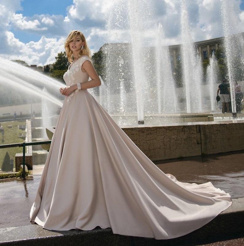 Nude Cappuccino Wedding Dress Long Train wedding dress lace satin wedding  dress Romantic royal wedding dress any sizes PLUS SIZE