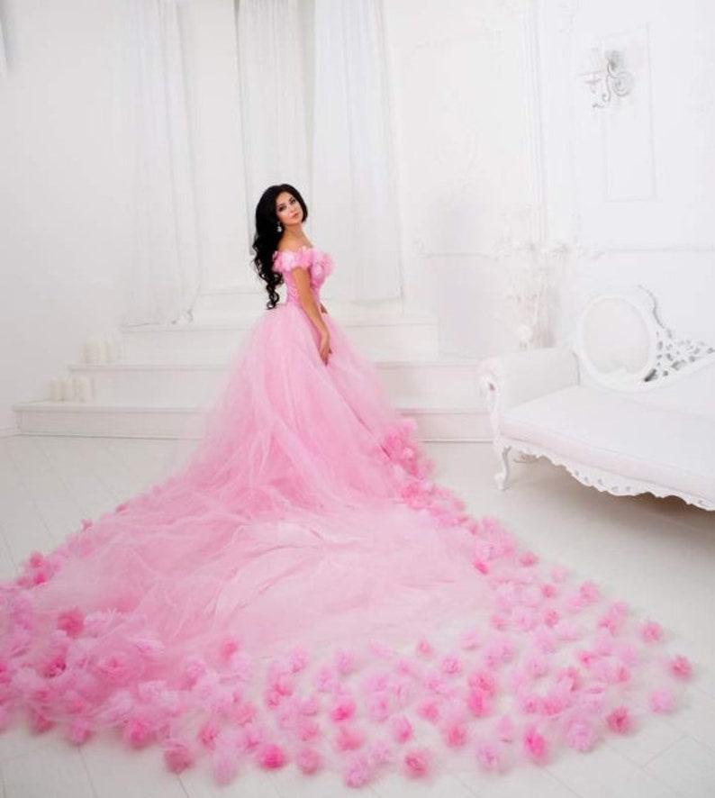 cb07c81940cecc Mutterschaft langer Schleppe rosa Kleid Rosa Foto mit Rose   Etsy